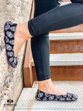 Load image into Gallery viewer, The Storehouse Flats Special Edition: Black Suede Sugar Skulls (Pre-Order)