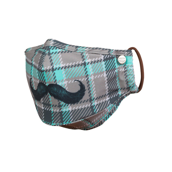 designer face mask with mustache on plaid for pollution, allergy, germ, virus protection, nose piece and filter insert