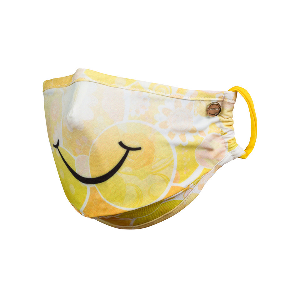 designer yellow smiley face mask for pollution, allergy, germ, virus protection includes nose piece and filter insert pocket