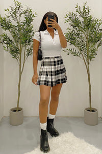 Lacy Plaid Skirt (Black/White)