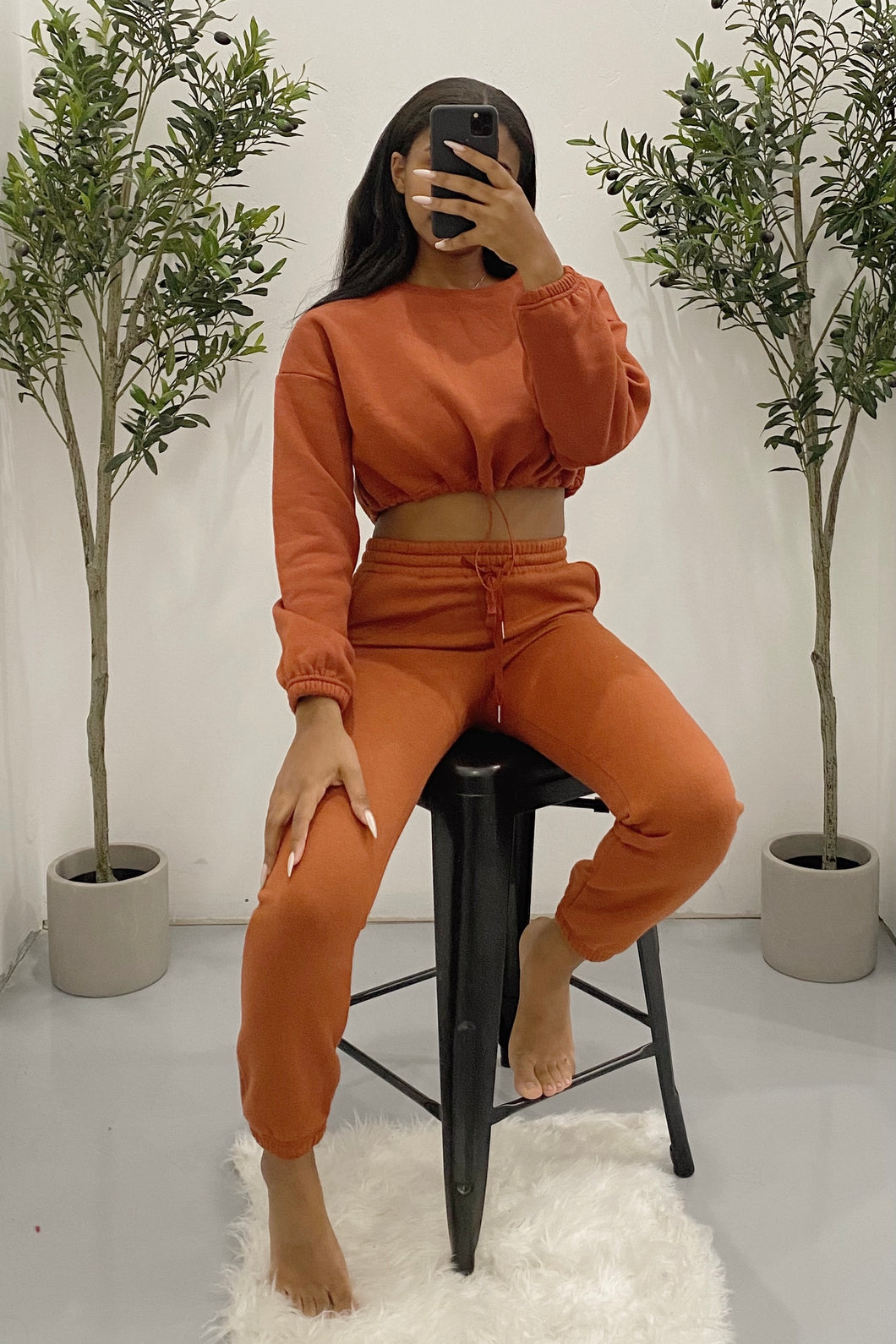 Stormi Cropped Sweater (Rust)