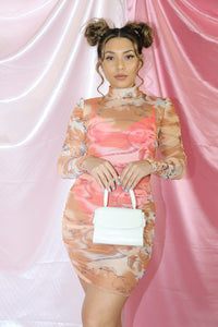 Frenchie Dress (Dusty Orange/Cream)
