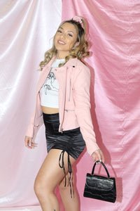 Mimi Faux Leather Jacket (Baby Pink)