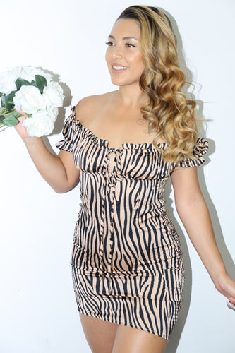 Jane Dress (Tan Zebra)