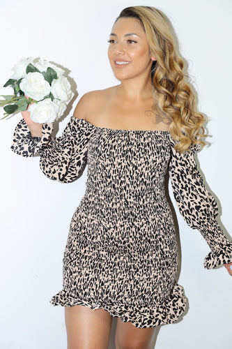 Raina Dress (Tan Cheetah)