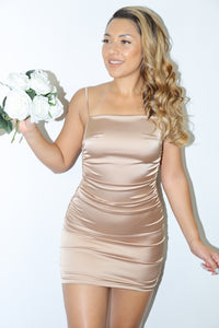 Zendaya Satin Dress (Bronze)
