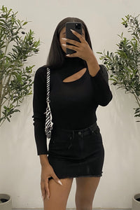 Alexis Cut Out Bodysuit (Black)