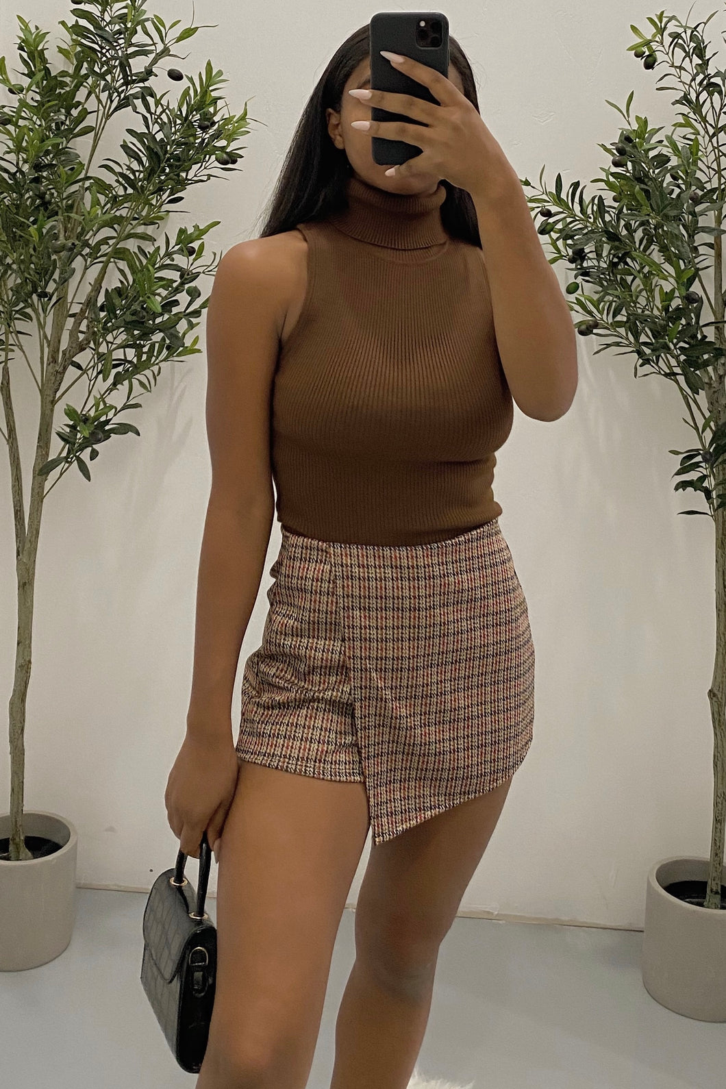 Terry Turtleneck Top (Brown)