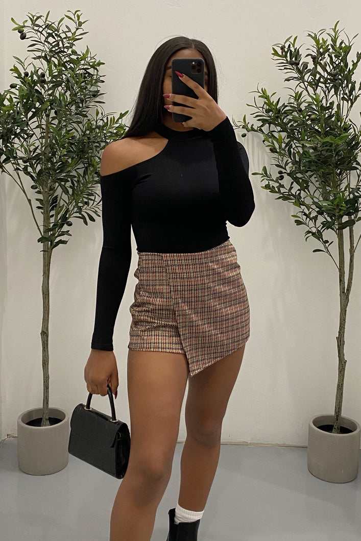 Kamryn Plaid Skort (Brown)