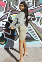 Load image into Gallery viewer, Sarah Suede Biker Shorts (Olive)