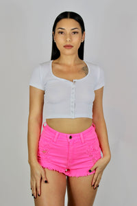Tori High Waisted Shorts (Neon Pink)