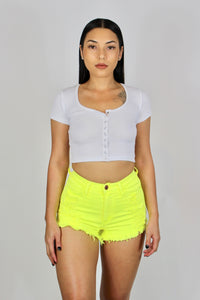 Tori High Waisted Shorts (Neon Yellow)