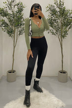 Load image into Gallery viewer, Nora Long Sleeve Crop Top (Olive Green)