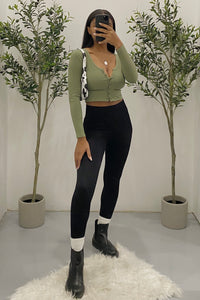 Nora Long Sleeve Crop Top (Olive Green)