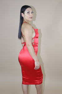 Rosa Satin Dress (Red)