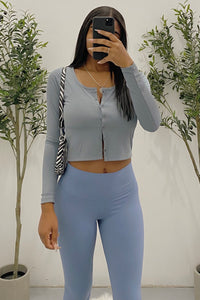 Andy Crop Top (Dusty Blue)