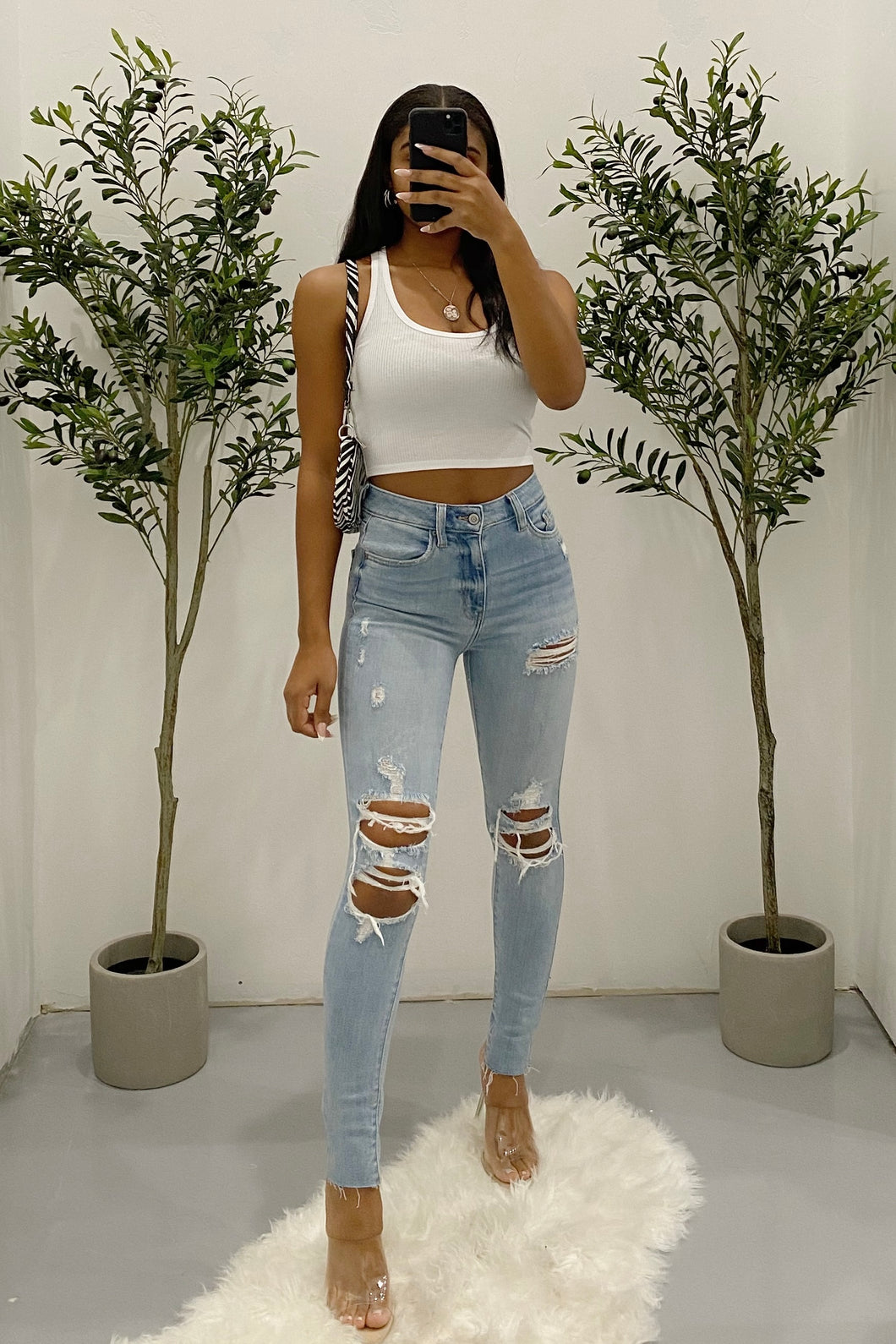Johnny High Waisted Distressed Skinny Jeans (Light Denim)
