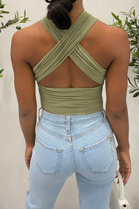 Lera Wrap Top (Olive Green)