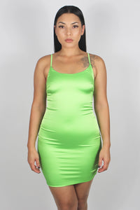 Roxy Satin Dress (Neon Green)