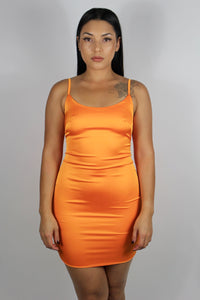 Roxy Satin Dress (Orange)