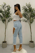 Load image into Gallery viewer, Jordan Distressed Mom Jeans (Faded Light Denim)