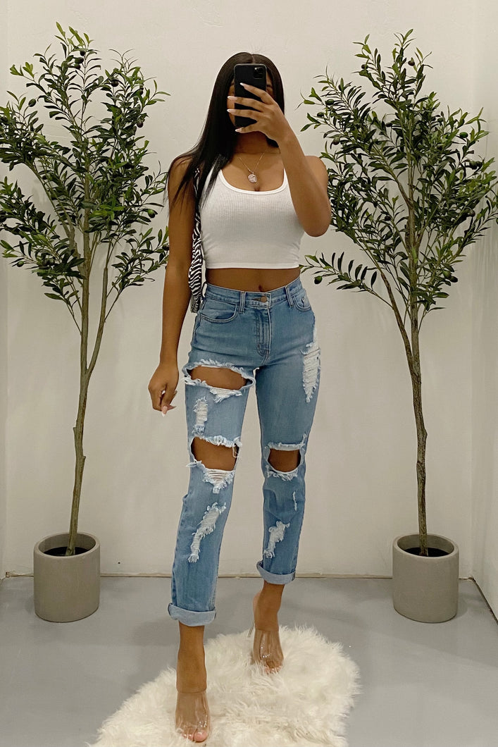 Jess Distressed Mom Jeans (Denim)