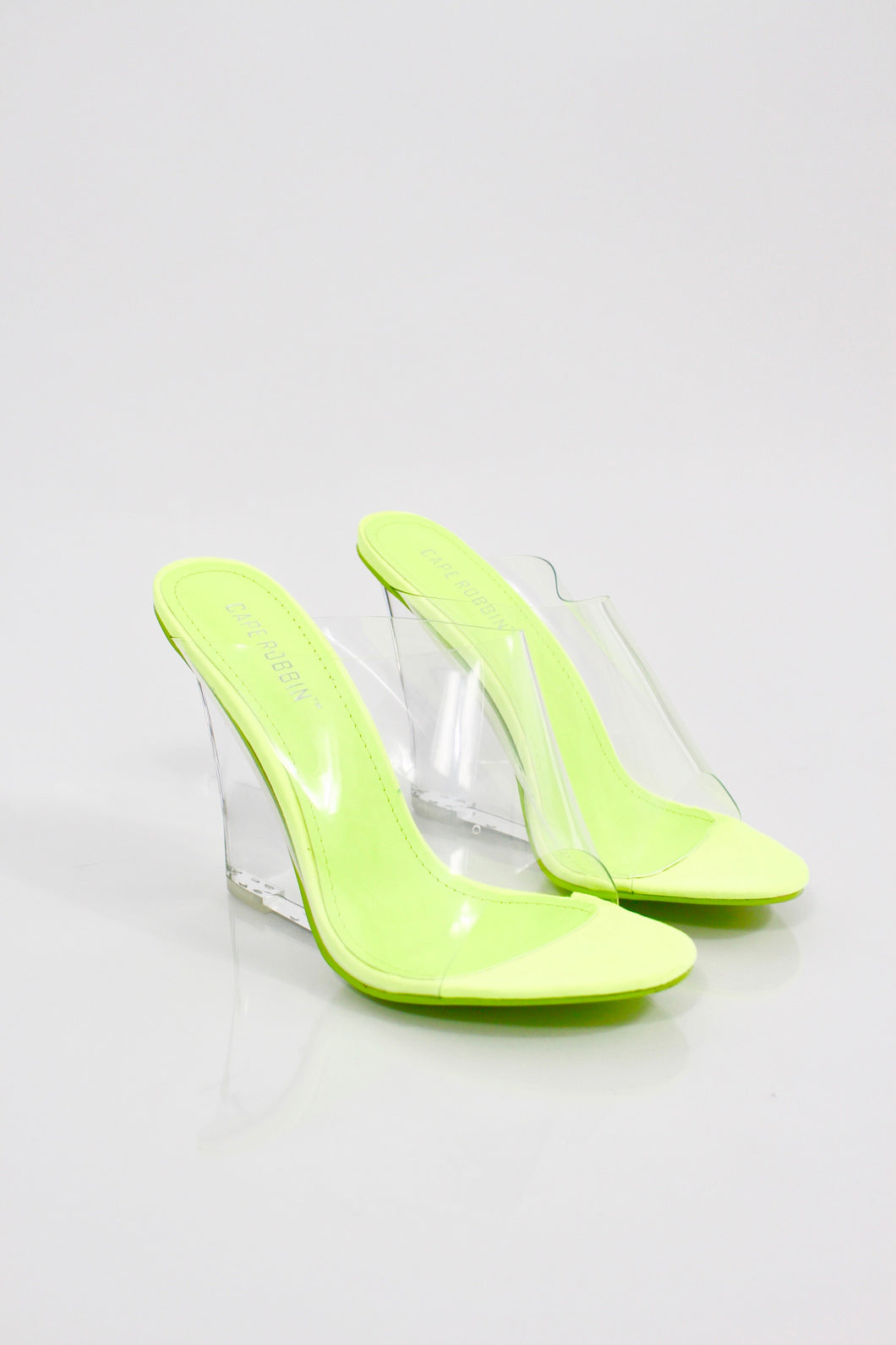 Fairfax Clear Perspex Heels (Neon Lime)