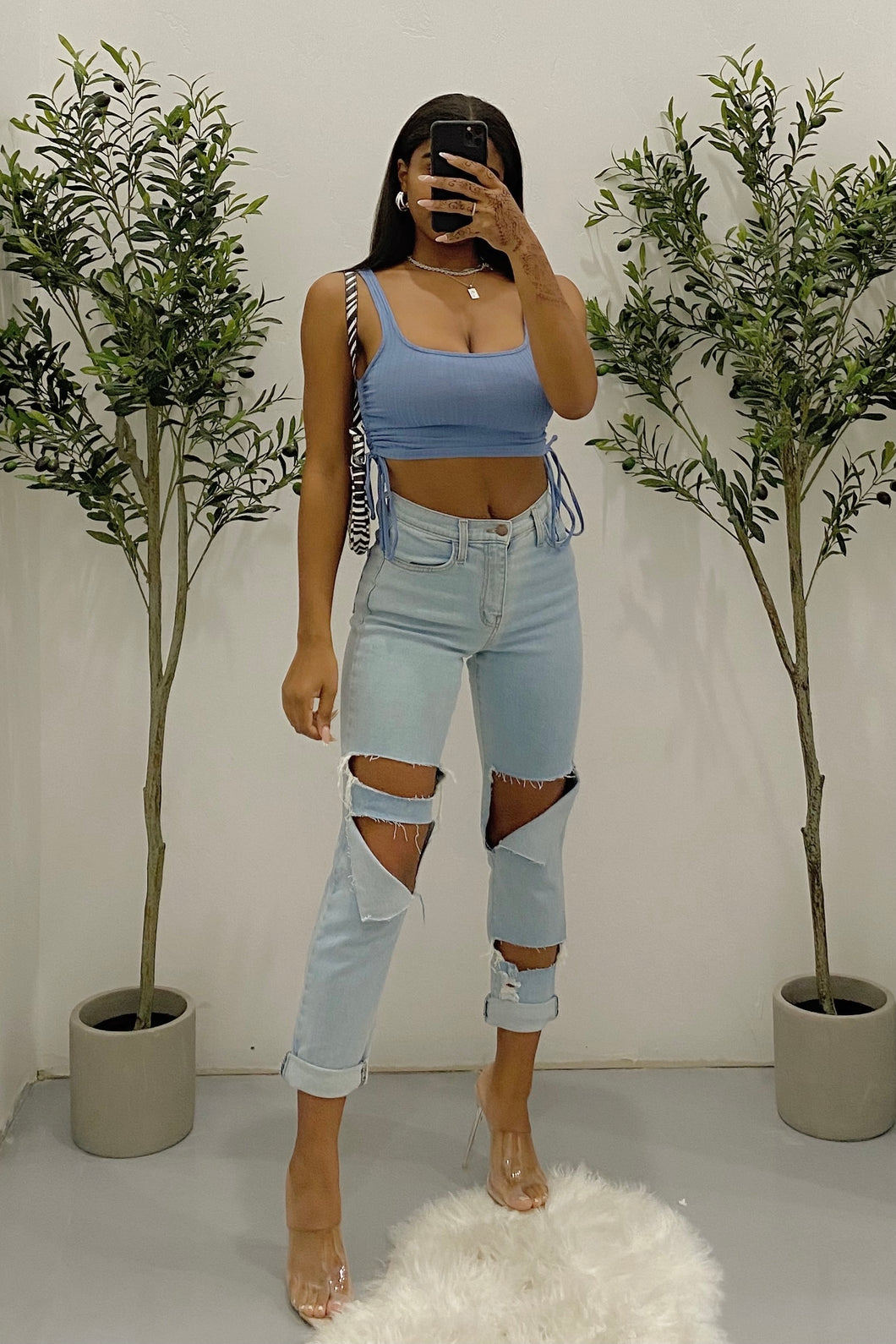 Chantel Crop Top (Ocean Blue)