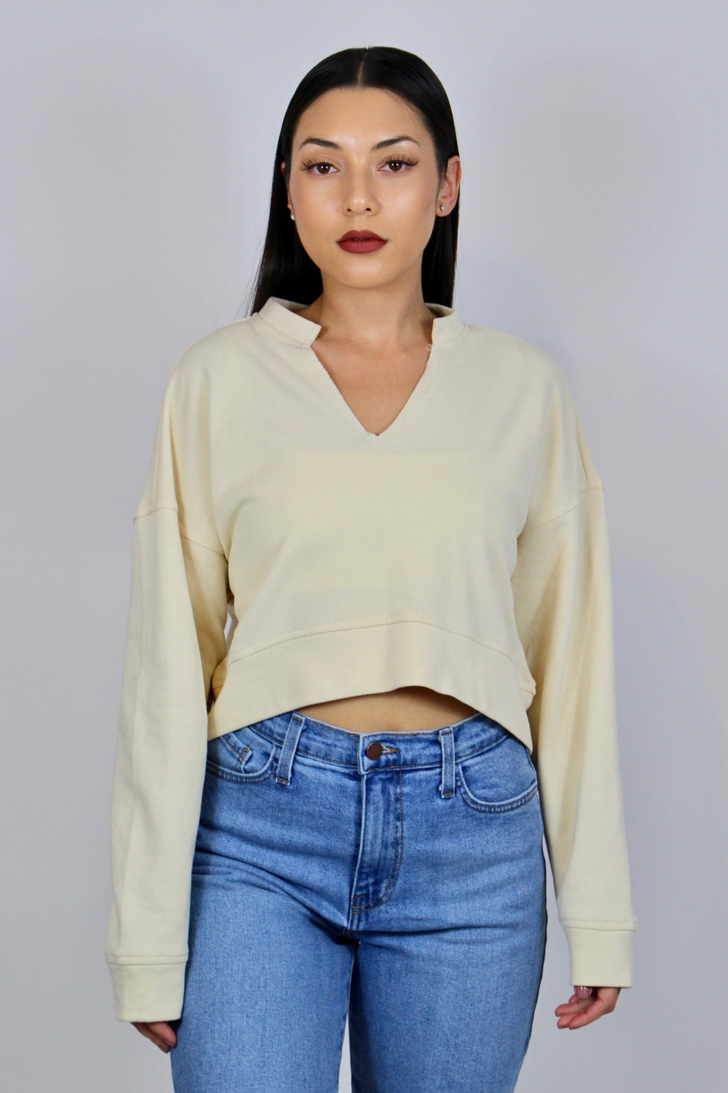 Venice Cropped Sweater (Ivory)