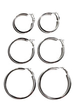 Load image into Gallery viewer, Hailey Chunky Hoop Earrings Set (Silver)