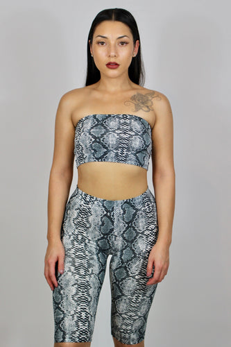 Carla Snake Tube Top and Biker Shorts Set (Grey)