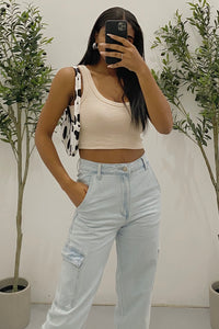 Gina Crop Top (Sand Brown)