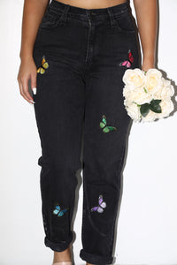 Israella Butterfly Mom Jeans (Black)