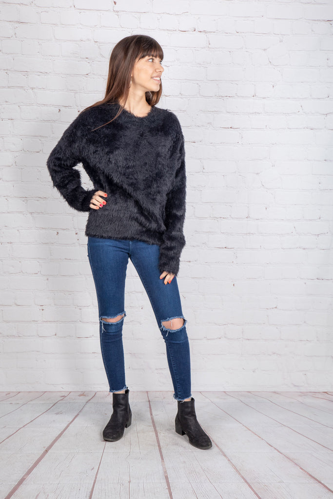 FOREVER FUZZY SWEATER IN BLACK