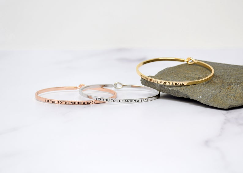 LOVE YOU TO THE MOON BANGLE BRACELET