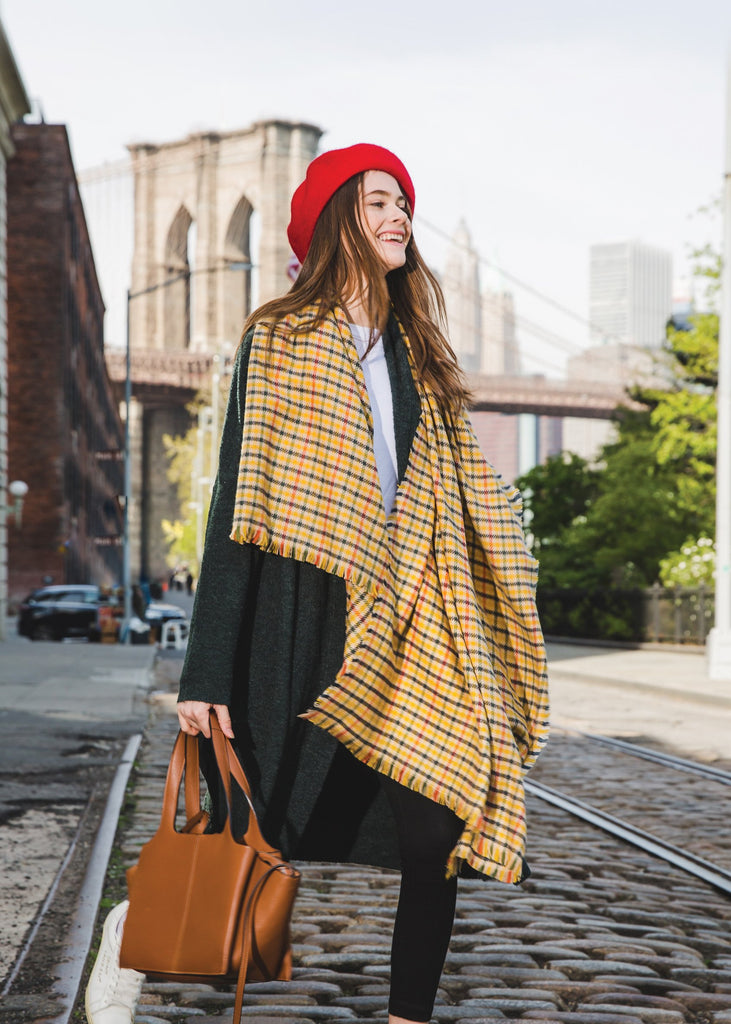 LOLLIPOP PLAID YELLOW SCARF