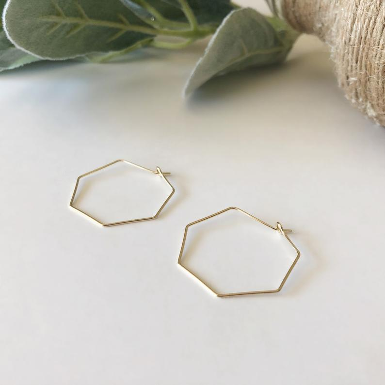 DAINTY HEX HOOPS