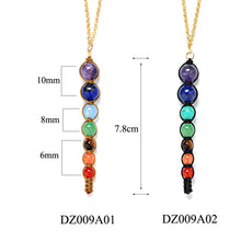 Load image into Gallery viewer, 7 Chakra Healing Balance Lava Necklace