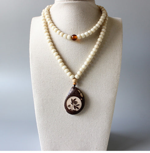 Ivory White Tagua Nut Necklace