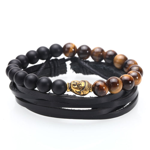Leather & Natural Tiger Eye Stone Bracelet