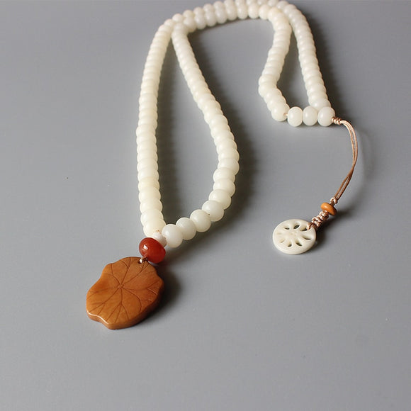 White Bodhi Seed Necklace With Lotus Leaf