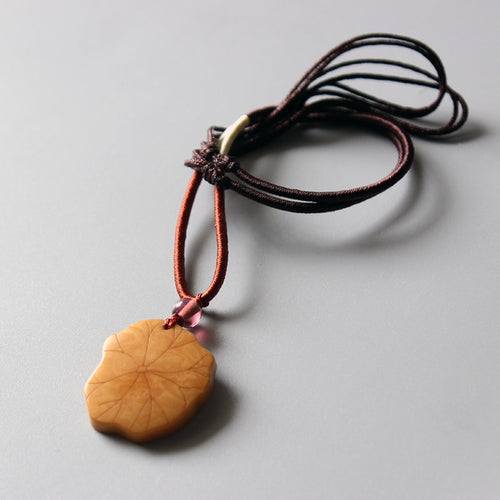 Rope Necklace With Hand-Carved Tagua Nut Lotus Leaf