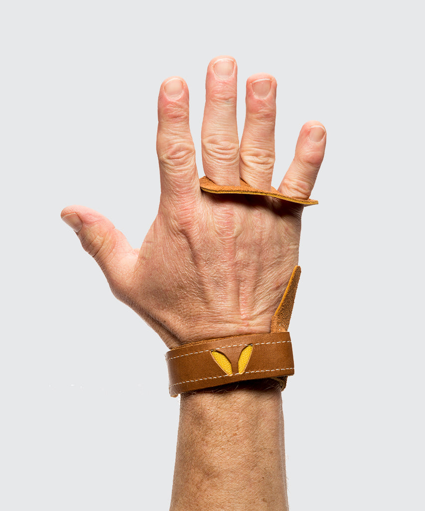 3 finger grips in leather color Tan - Victory Grip used for Crossfit gymnastic pullups, muscle ups and barbell work.
