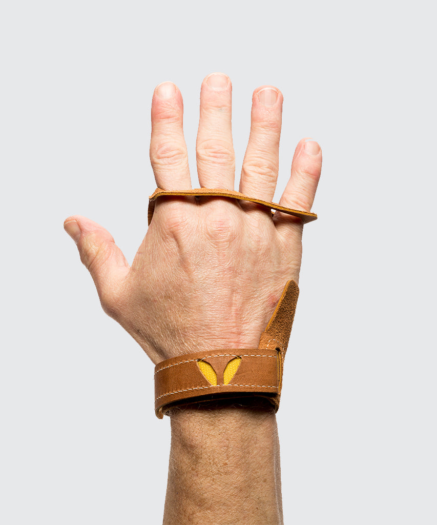 4 finger grips in leather color Tan - Victory Grip used for Crossfit gymnastic pullups, muscle ups and barbell work.