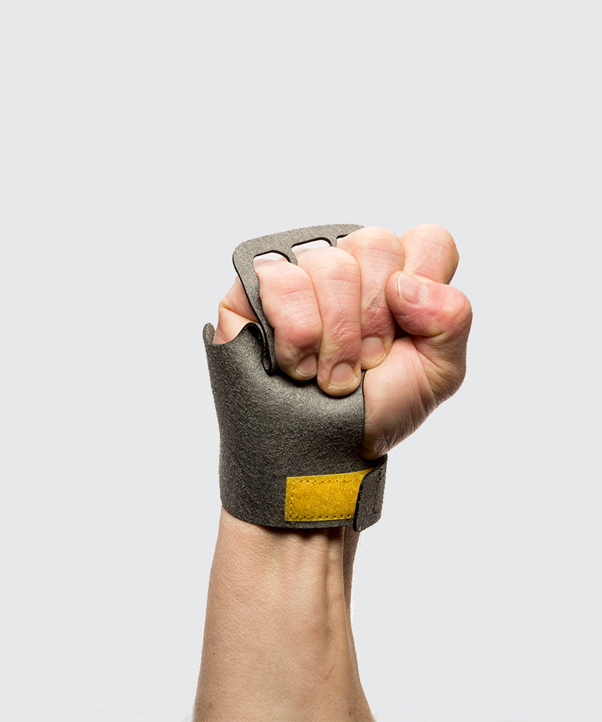 3 finger grips in Stealth material - Victory Grip used for Crossfit gymnastic pullups, muscle ups and barbell work