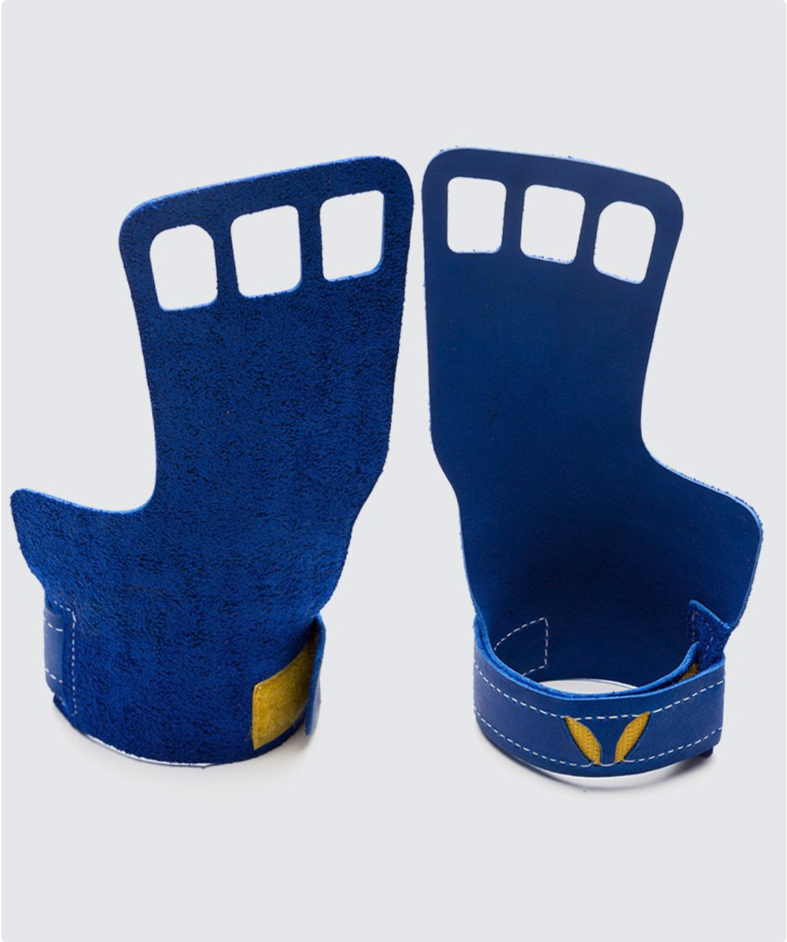 3 finger grips in leather color Blue - Victory Grip used for Crossfit pullups, muscle ups and barbell work.
