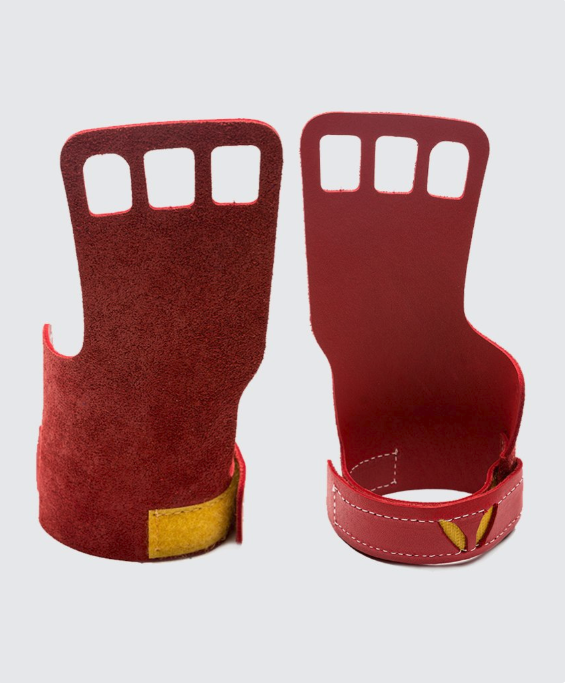 3 finger grips in leather color Red - Victory Grip used for Crossfit pullups, muscle ups and barbell work.