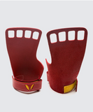 4 finger grips in leather color Red - Victory Grip used for Crossfit gymnastic pullups, muscle ups and barbell work.
