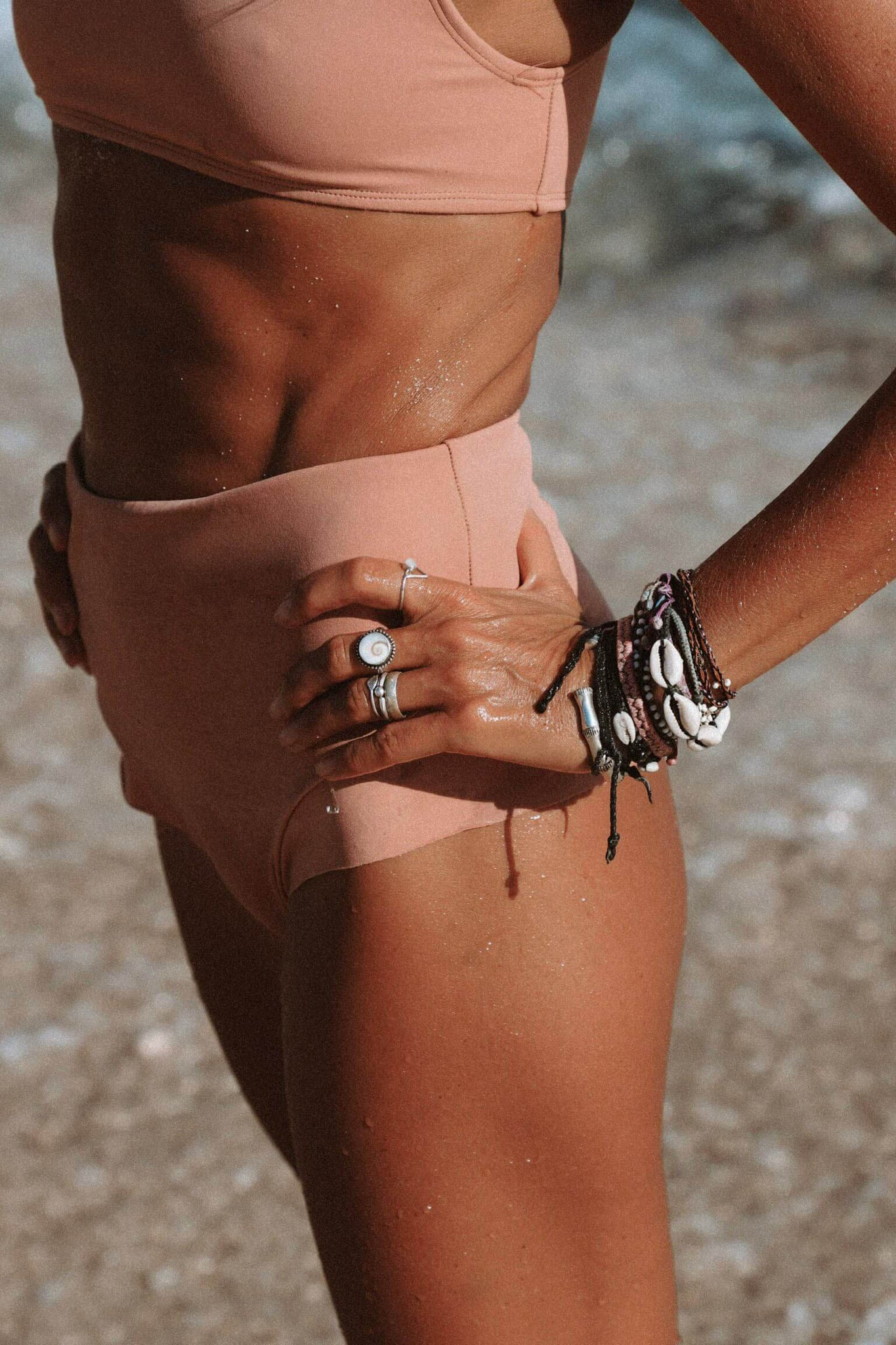 Smooth retro rose high waist bikini