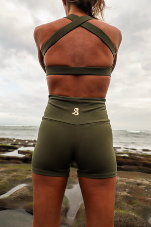 Organic short dark olive set